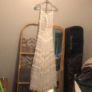 Free people white long lace dress